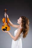Woman artist with violin Royalty Free Stock Photography