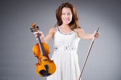 Woman artist with violin Royalty Free Stock Images