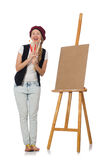 The woman artist on the white Stock Photography