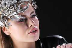 Woman with artistic hair in a vintage jacket Royalty Free Stock Photography