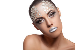 Woman artistic rhinestone make up isolated on white Royalty Free Stock Image