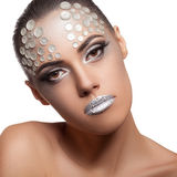 Woman artistic rhinestone make up isolated on white Royalty Free Stock Images