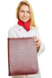 Woman as chef cook with menu Stock Photos
