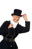 Woman as a chimney sweep. With a hat against a white background Stock Photos