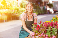 Woman as gardener in front of flower shop Stock Photography