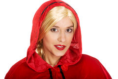 Woman as a Little Red Riding Hood. Stock Images