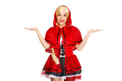 Woman as a Little Red Riding Hood. Royalty Free Stock Photo