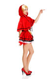 Woman as a Little Red Riding Hood. Royalty Free Stock Images