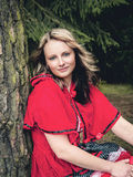 Woman as Little Red Riding Hood Royalty Free Stock Images