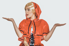Woman as a Little Red Riding Hood. Stock Image