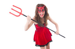 Woman as red devil Royalty Free Stock Images