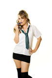 Woman as a schoolgirl Royalty Free Stock Image