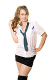 Woman as a schoolgirl Royalty Free Stock Photography