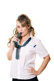 Woman as a schoolgirl Stock Images