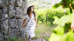 Woman ascending on pathway between vineyard stock footage