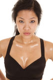 Woman asian black top sweat Stock Photo