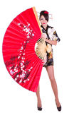 Woman in Asian costume with red Asian fan Stock Photos
