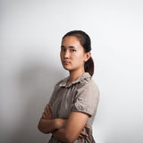 Woman asian crossing arm with upset face Stock Image