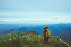 Woman asians travel relax in the holiday. Photograph landscape on the Moutain.Thailand. Woman asians travel relax in the holiday. Photograph landscape on the royalty free stock images