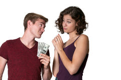 Woman asking for money from a man Royalty Free Stock Photo