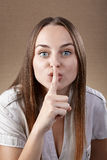 Woman asking for silence Stock Photos
