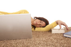 Woman Asleep Behind Computer Royalty Free Stock Images