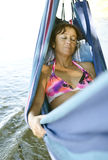 Woman asleep in hammock Royalty Free Stock Photos
