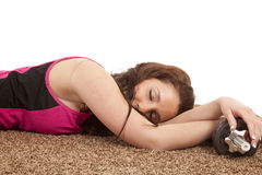Woman asleep weights Stock Photo