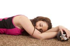 Woman Asleep Weights Stock Photo