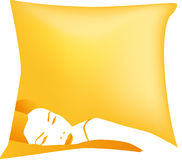 Woman asleep on yellow pillow Royalty Free Stock Photo