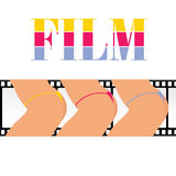 Woman ass with film track  illustration. Woman ass with film track Royalty Free Stock Photos