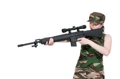 Woman with Assault Rifle Stock Photo