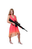 Woman with Assault Rifle Stock Photography