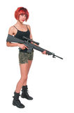 Woman with Assault Rifle Royalty Free Stock Photo