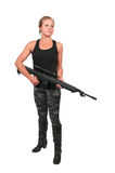Woman with Assault Rifle Royalty Free Stock Photos