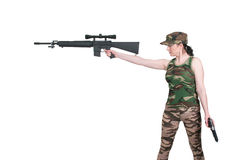 Woman with Assault Rifle and Handgun Stock Images