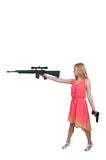 Woman with Assault Rifle and Handgun Stock Image