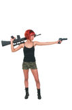 Woman with Assault Rifle and Handgun Royalty Free Stock Image