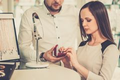 Woman with assistant in jewellery shop Stock Photos