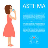 Woman with asthma. Woman using a spray inhaler to stop asthma attack. Asthma design template with place for text. Bronchial asthma awareness concept. Vector Royalty Free Stock Photos