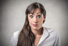 Woman with an astonished xpression Royalty Free Stock Photo