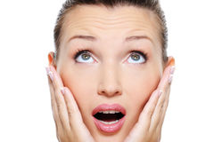 Woman with an astonishment emotion on her face stock image