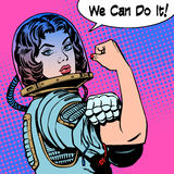 Woman astronaut we can do it the power of protest Royalty Free Stock Photos