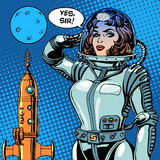Woman astronaut captain of a spaceship science fiction. Retro style pop art Stock Photo