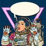 Woman astronaut Girls 80s royalty free illustration