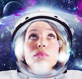 Woman astronaut. Looks space and infinity cosmos stock photos