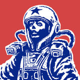 Woman astronaut on red background. Vector Illustration. stock photo
