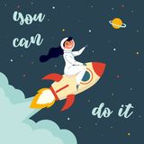 Woman astronaut riding a rocket. You can do it royalty free illustration