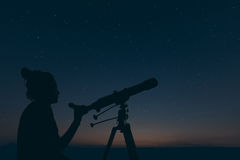 Woman with astronomical telescope. Starry night Constellations, Royalty Free Stock Image