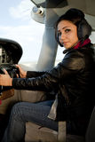 Woman At Airplane Controls Stock Photo
